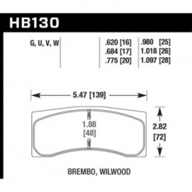 HAWK HB130G.775 brake pad set - DTC-60 type (20 mm)