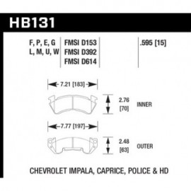 HAWK HB131U.595 brake pad set - DTC-70 type (15 mm)