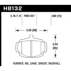 HAWK HB132E.580 brake pad set - Blue 9012 type (15 mm)