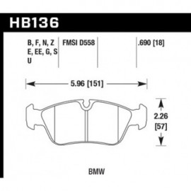 HAWK HB136E.690 brake pad set - Blue 9012 type (18 mm)