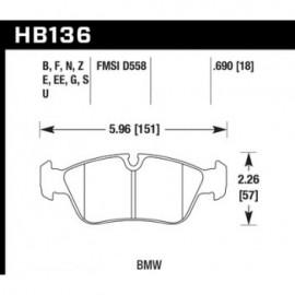 HAWK HB136U.690 brake pad set - DTC-70 type (18 mm)