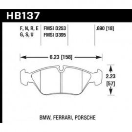 HAWK HB137S.690 brake pad set - HT-10 type (18 mm)