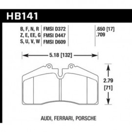 HAWK HB141E.650 brake pad set - Blue 9012 type (17 mm)