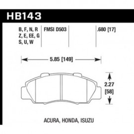 HAWK HB143E.680 brake pad set - Blue 9012 type (17 mm)