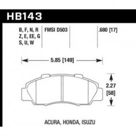 HAWK HB143G.680 brake pad set - DTC-60 type (17 mm)