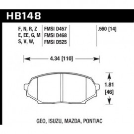 HAWK HB148E.560 brake pad set - Blue 9012 type (14 mm)