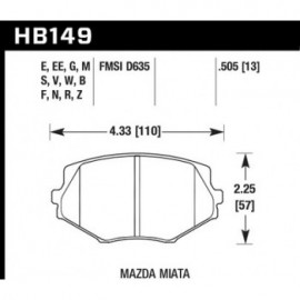HAWK HB149S.505 brake pad set - HT-10 type (13 mm)