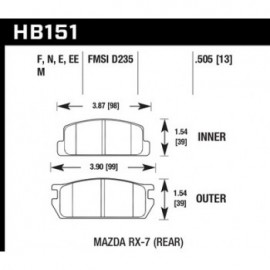 HAWK HB151E.505 brake pad set - Blue 9012 type (13 mm)