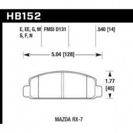 HAWK HB152E.540 brake pad set - Blue 9012 type (14 mm)