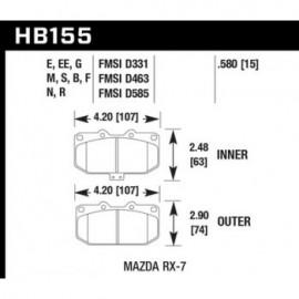 HAWK HB155G.580 brake pad set - DTC-60 type (15 mm)