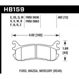 HAWK HB159S.492 brake pad set - HT-10 type (13 mm)
