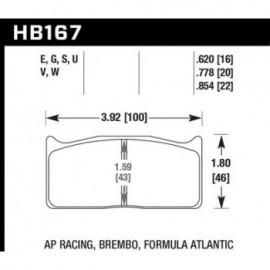 HAWK HB167U.620 brake pad set - DTC-70 type (16 mm)