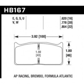 HAWK HB167U.854 brake pad set - DTC-70 type (22 mm)