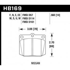 HAWK HB169U.560 brake pad set - DTC-70 type (14 mm)