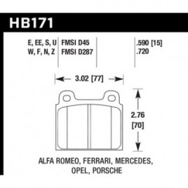 HAWK HB171S.590 brake pad set - HT-10 type (15 mm)