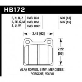 HAWK HB172S.595 brake pad set - HT-10 type (15 mm)