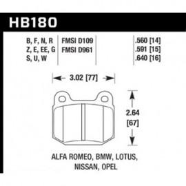 HAWK HB180S.560 brake pad set - HT-10 type (14 mm)