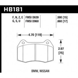 HAWK HB181S.590 brake pad set - HT-10 type (15 mm)