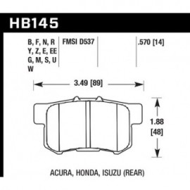 HAWK HB145Y.570 brake pad set - LTS type
