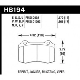 HAWK HB194Y.570 brake pad set - LTS type