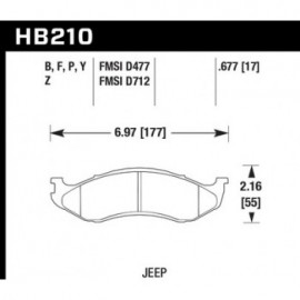 HAWK HB210Y.677 brake pad set - LTS type