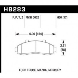 HAWK HB283Y.650 brake pad set - LTS type