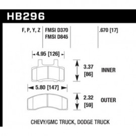 HAWK HB296Y.670 brake pad set - LTS type