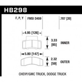 HAWK HB298Y.787 brake pad set - LTS type