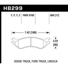 HAWK HB299Y.650 brake pad set - LTS type