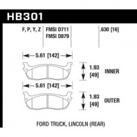 HAWK HB301Y.630 brake pad set - LTS type
