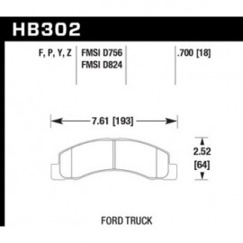 HAWK HB302Y.700 brake pad set - LTS type