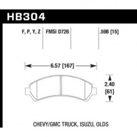 HAWK HB304Y.598 brake pad set - LTS type
