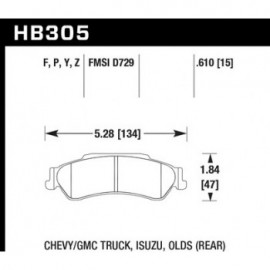 HAWK HB305Y.610 brake pad set - LTS type
