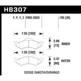 HAWK HB307Y.795 brake pad set - LTS type