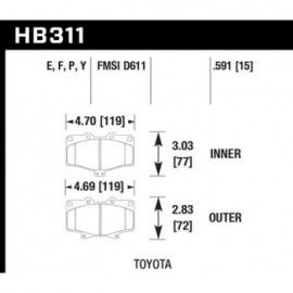 HAWK HB311Y.591 brake pad set - LTS type