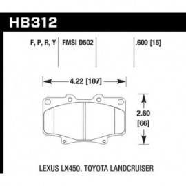 HAWK HB312Y.591 brake pad set - LTS type