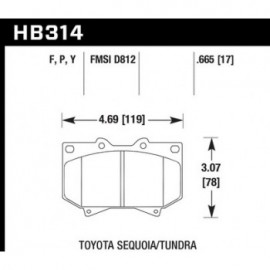 HAWK HB314Y.665 brake pad set - LTS type