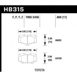HAWK HB315Y.669 brake pad set - LTS type