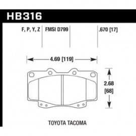 HAWK HB316Y.670 brake pad set - LTS type