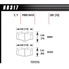 HAWK HB317Y.591 brake pad set - LTS type