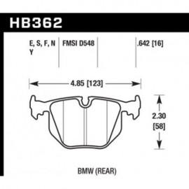 HAWK HB362Y.642 brake pad set - LTS type