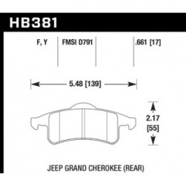 HAWK HB381Y.661 brake pad set - LTS type