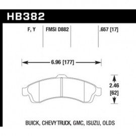 HAWK HB382Y.657 brake pad set - LTS type