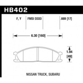 HAWK HB402Y.669 brake pad set - LTS type