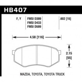 HAWK HB407Y.602 brake pad set - LTS type