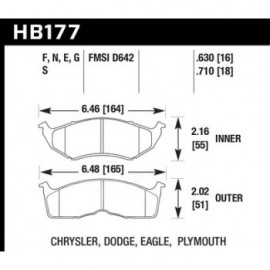 HAWK HB177S.630 brake pad set - HT-10 type (16 mm)