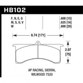 HAWK HB102M.625 brake pad set - Black type (16 mm)