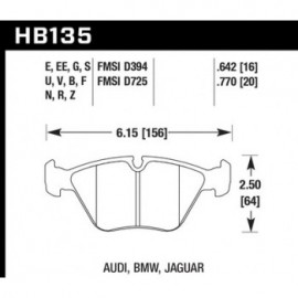 HAWK HB135E.642 brake pad set - Blue 9012 type