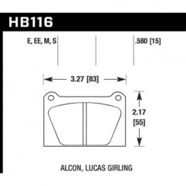 HAWK HB116E.580 brake pad set - Blue 9012 type (15 mm)