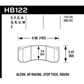 HAWK HB122G.980 brake pad set - DTC-60 type (25 mm)
